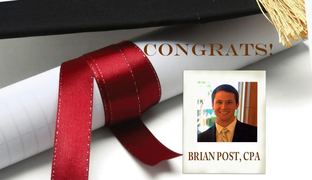 Congrats Brian Post, CPA 1